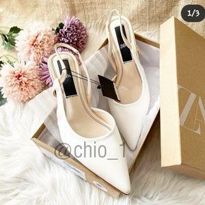ZARA metal trim slingback heels